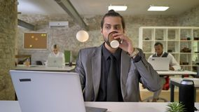 Handsome businesswoman with beard is typing on laptop in office, drinking coffee, colleagues are networking with. Technologies, work concept, communication stock footage