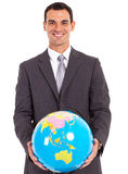 Handsome busniessman globe Stock Photos