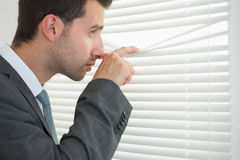 Handsome calm businessman spying through roller blind Stock Photography