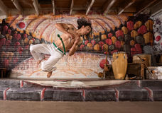 Handsome Capoeira Man Flipping Stock Photo