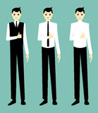 Handsome cartoon businessman okay. Cartoon illustration of a handsome businessman showing gestures Royalty Free Stock Photo
