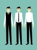 Handsome cartoon businessman smile. Cartoon illustration of a handsome businessman showing gestures Stock Images