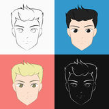 Handsome cartoon face. Cartoon illustration of a handsome person face Royalty Free Stock Photo