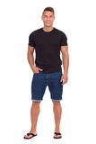 Handsome Casual Man In Jeans Shorts Isolated Royalty Free Stock Image