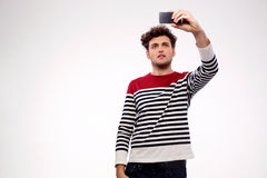 Handsome casual man making selfie photo Royalty Free Stock Photography