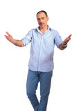 Handsome casual man welcoming with hands open Stock Photo