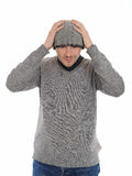Handsome casual man in winter hat and warm clothes Stock Photo