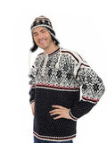Handsome casual man in winter hat and warm clothes Stock Images