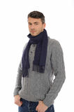 Handsome casual man in winter hat and warm clothes Royalty Free Stock Images