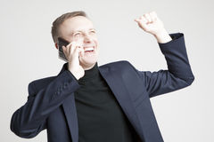 Handsome Caucasian Man In Elegant Siut Speaking Using Cell Phone Stock Photography