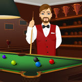 Handsome caucasian man holding cue stick Stock Image