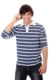 Handsome caucasian man makes a call Royalty Free Stock Photography