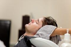 Handsome caucasian man shampooed Royalty Free Stock Image