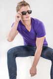 Handsome Caucasian Man in Special Eyeglasses Royalty Free Stock Photos