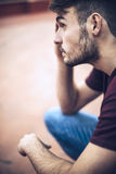 Handsome caucasian young man in casual clothes in urban environm Stock Photo