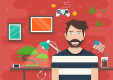 Handsome Character Vector Illustration in Flat Style Stock Image