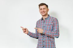Beautiful caucasian young happy people on white background isolated. Holiday, party concept. Handsome cheerful positive satisfied caucasian smiling fun young Stock Image