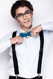 Handsome cheerful young man wearing glasses Stock Photos