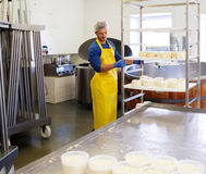 Handsome cheesemaker making curd cheese in his factory. Stock Photos