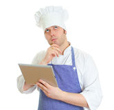 Handsome chef cook thinking Stock Photos