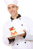 Handsome Chef Cooking Dessert Stock Photos