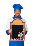 Handsome chef with menu isolated Royalty Free Stock Photography