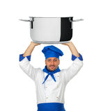 Handsome chef with pot isolated Stock Photography