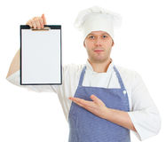 Handsome chef presenting new menu. Stock Photography