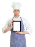 Handsome chef presenting new menu Royalty Free Stock Photo