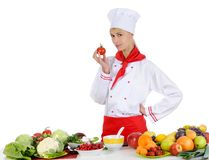 Handsome chef in uniform. Stock Photos
