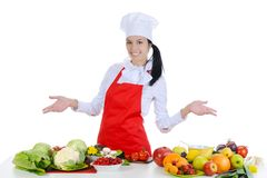 Handsome chef in uniform. Royalty Free Stock Photos