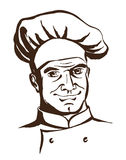Handsome chef wearing hat and uniform. Hand drawing logo Stock Images