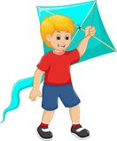 Handsome children cartoon play kite with smile. Pict of handsome children cartoon play kite with smile Royalty Free Stock Image