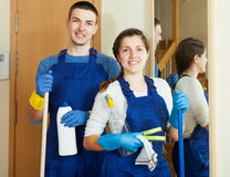 Handsome cleaners team is ready Stock Images