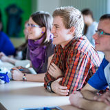 Handsome college student sitting in a classroom full of students Royalty Free Stock Photos