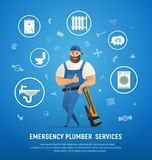 Handsome Company Plumber Service with Wrench royalty free illustration