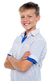 Handsome confident kid posing in style stock images