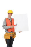 Handsome Construction Man with Sign Stock Photos