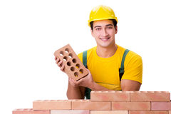 The handsome construction worker building brick wall Stock Photo