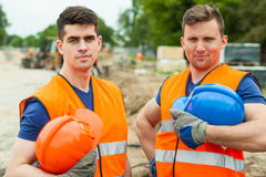 Handsome constructive workers Stock Images
