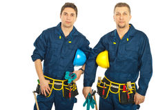 Handsome constructor workers team Stock Image