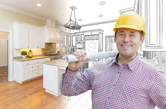 Handsome Contractor in Hard Hat Over Custom Kitchen Drawing and Photo Stock Images