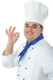 Handsome cook. Portrait of a handsome cook isolated over white Royalty Free Stock Photo