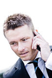 Handsome Corporate Man On The Phone. Closeup Photo Of A Handsome Corporate Man On The Phone Royalty Free Stock Photography