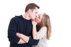 Handsome Couple Kissing And Being Happy Stock Photo