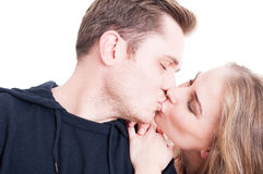 Handsome couple kissing and being affective close-up Stock Photos