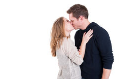 Handsome couple kissing and being affective Royalty Free Stock Photos