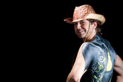 Handsome cowboy with body art back isolated Royalty Free Stock Images