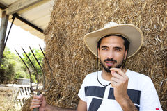 Handsome cowboy holding a pitch fork in stable Stock Photos