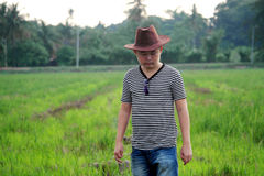 Handsome Cowboy Man at Rice Paddy Field Royalty Free Stock Photography